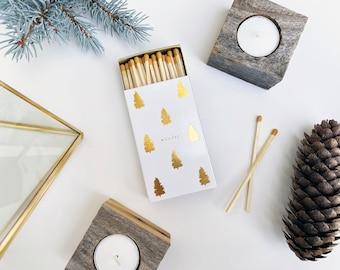 Wander Large Candle Matchbox. Golden Pine Trees Matchbook. Long Caramel Honey Matches. Wanderlust Gift. Cozy Modern Gold + White Pine Trees.