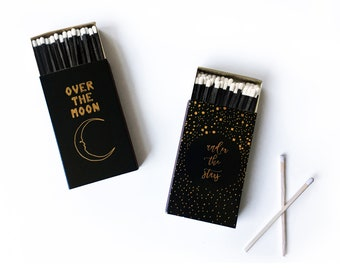 """Celestial Candle Matchbox. Over the Moon, Under the Stars Foil Pressed Match Box. 4"""" Long Matches. Lunar Decor. Starry Night, Astronomy Gift"""