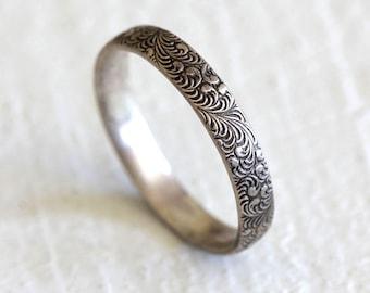 Fern ring silver patterned ring woodland pattern ring - gardener gift