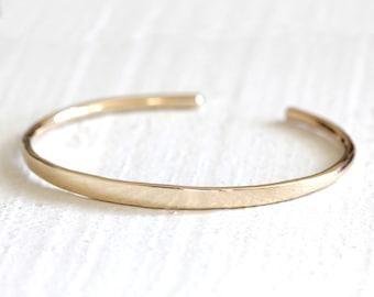 892cc7471b0 Solid gold cuff bracelet 14k gold organic bangle