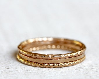 Gold stacking rings 14k gold stacking rings
