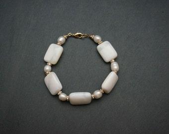 sorbet - white opal - milky white chunky bracelet