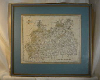 "Surrey Antique County Map Engraving Spelt Surry Published by John Cary 1787 at 188 Arnold Street Strand London Framed 14.5"" Wall Hanging"
