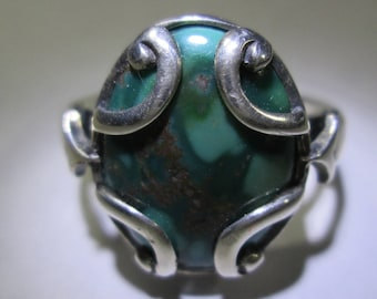 turquoise ring, size 7... sterling silver