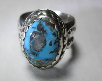 ring, size 7... Morenci Turquoise in sterling silver