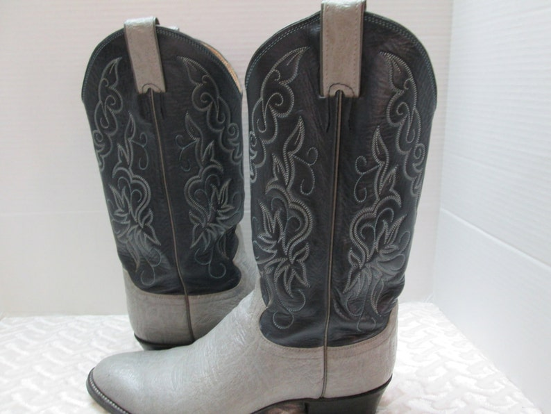 TX black JUSTIN boots from El Paso size 9 B cowhide leather, gray