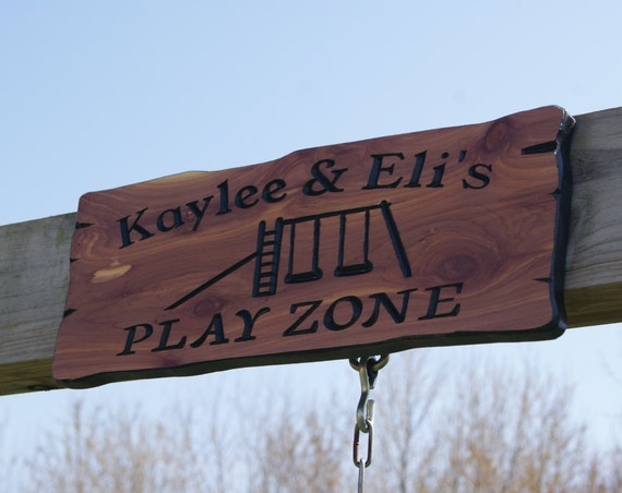 Personalized Play Zone Wooden Carved Sign Swing Set Images Backyard Sign Kids Play Ground Engraved Plaque Housewarming Gift Red Cedar 214