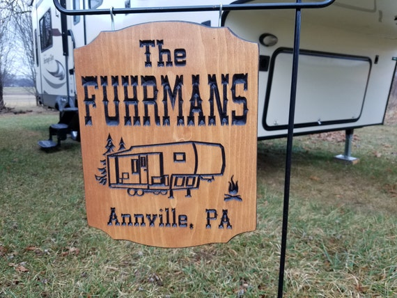 Personalized Camping Signs RV Signs Trailer Signs Campsite Sign Custom Camping Gift Sign Carved Camping Sign camping gifts 14 x 11 Pine 535