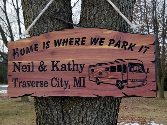 Family Camper Sign Personalized Carved Wooden Last Name Camping RV Sign Campsite Welcome Engraved Plaque Camper Image 19 x 9 Cedar 526