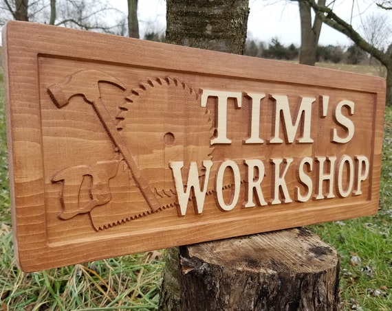 Personalized Workshop Sign 3D Lettering Wooden Carved Rustic Tools Hammer Saw Blade Graphic Stained Engraved Plaque 23 x 9 Pine 7500