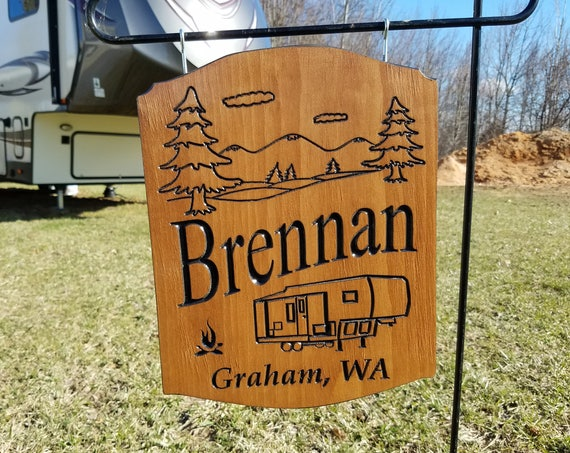 Camping Sign RV Decor RV Accessories Personalized Wooden RV Sign Camper Sign Rv Sign Camping Camper Image Campsite Sign 14 x 11 Pine 566
