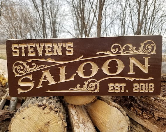 Custom Wood Signs Wooden Signs Brewery Name Saloon Sign Personalized Wooden Signs Man Cave Signs Personalized Garage Sign Hardwood 773