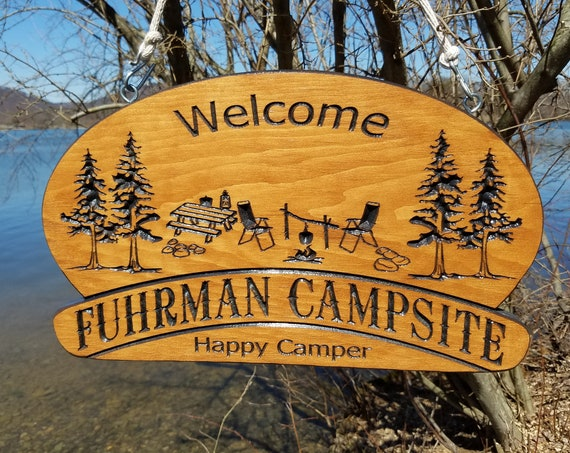 Last Name Family Campsite Sign Custom Made Wooden Welcome Sign Pine Trees Table Chairs Campfire Image Retirement Gift 18 x 11 Pine 571