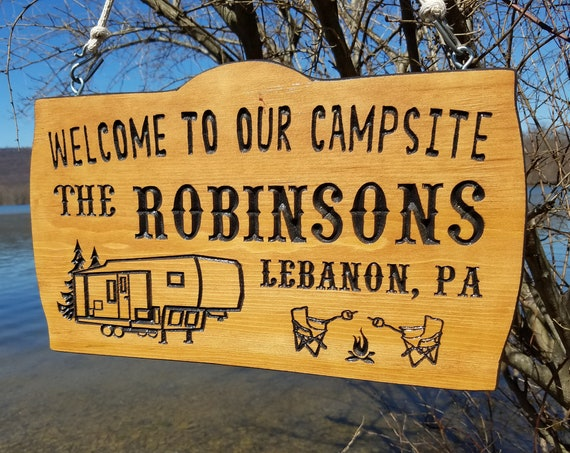 wooden signs for camper rv signs personalized camping sign camping gift happy camper flag trailer decor rv camping 18 x 11 Pine 576