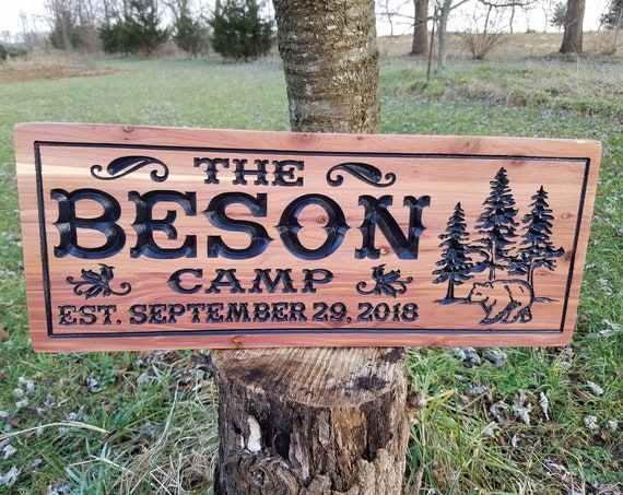 Cabin Sign Hunting Camp Personalized Family Lodge Last Name Engraved Plaque Established Date Tree Bear Image Housewarming Gift Cedar CD307