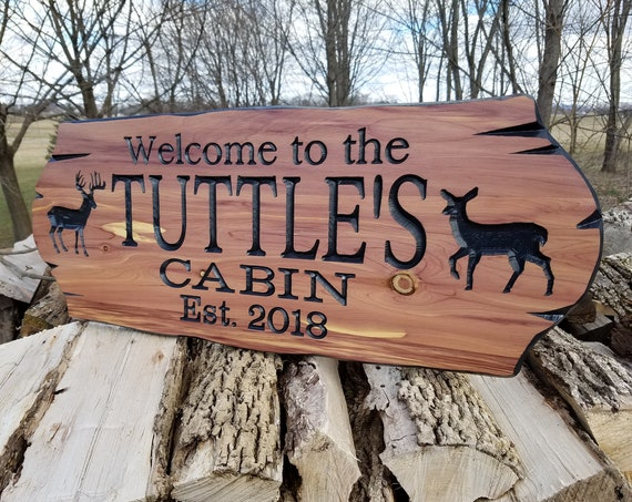 Cabin Signs Personalized Custom Wooden Signs Family Cabin Sign Lake Home Outdoor Name Sign Custom Wood Signs Custom Wooden House Cedar 330