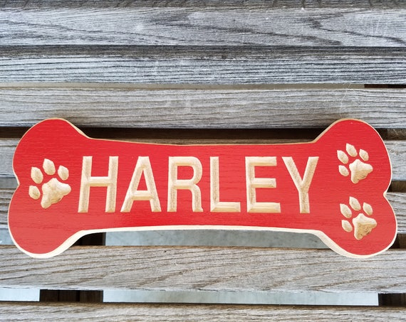 Dog Bone Shaped Sign Pet Name Personalized Wooden Carved Painted New Puppy Engraved Plaque Doghouse Name Plate Red Oak DB5