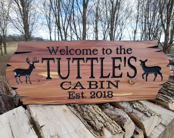 Cabin Sign-Personalized Custom Wooden Signs-Family Cabin Sign-Lake Home-Outdoor Name Sign-Custom Wood Signs-Family Name Sign-Cedar 330