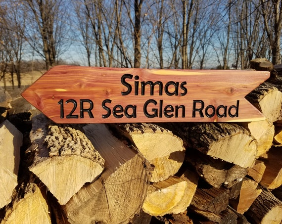 Driveway Sign Custom Outdoor Name Signs Address Sign Home With Numbers Custom Outdoor Name Sign Personalized Wooden Sign 23 x 5 Cedar ST32