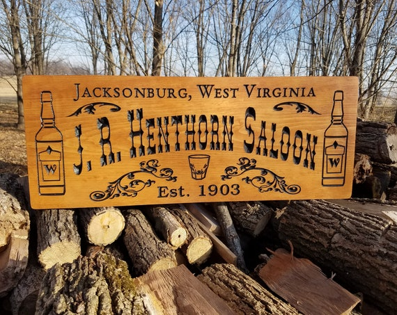 Saloon Sign. Bar Sign Man Cave sign Personalized custom wood signs wooden signs wood signs Fathers Day Gift Pine S729