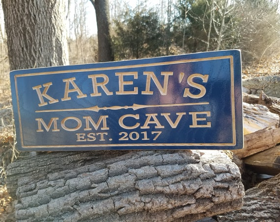 Custom Wood Signs Mom Cave Sign Personalized Wooden Wood Signs She Shed Mother's Day Birthday Game Room Custom Wooden Signs Hardwood 605