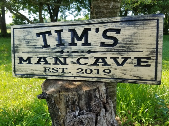 Rustic Distressed Man Cave Sign Personalized Wooden Carved Housewarming Engraved Plaque Wedding Anniversary Groomsmen Gift Knotty Pine 634