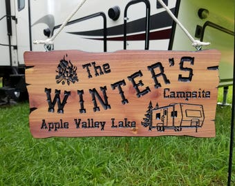 Camping Sign Rv Signs Cedar Camping Signs Campsite Sign Etsy