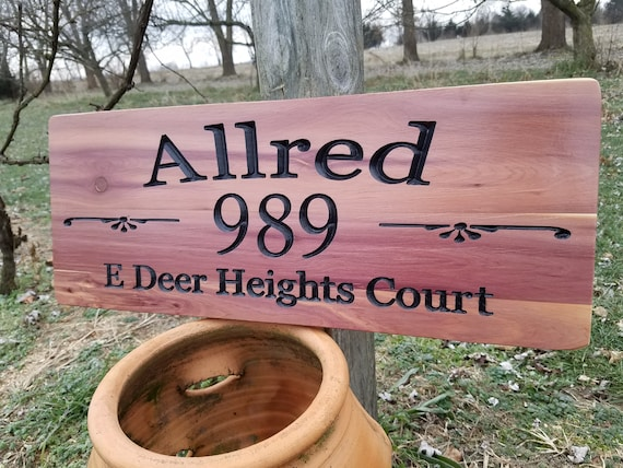 Address Sign custom address sign street address sign Personalized Wooden Carved Last Name Street Name Custom Made House Number Cedar ST27