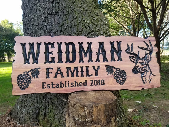 Cabin Hunting Camp Last Name Personalized Wooden Carved  Established Date Deer Image Live Edge Wood Look Housewarming Gift Red Cedar CD309