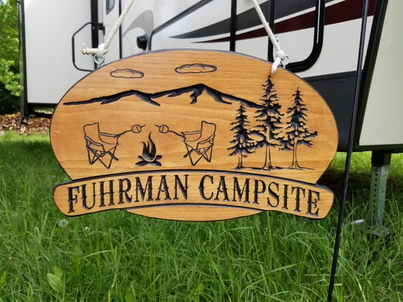 Last Name Campsite Sign Campfire Chairs Trees Image Custom RV Sign Wooden Campsite Engraved Vacation Sign Retirement Gift 18 x 11 Pine 570