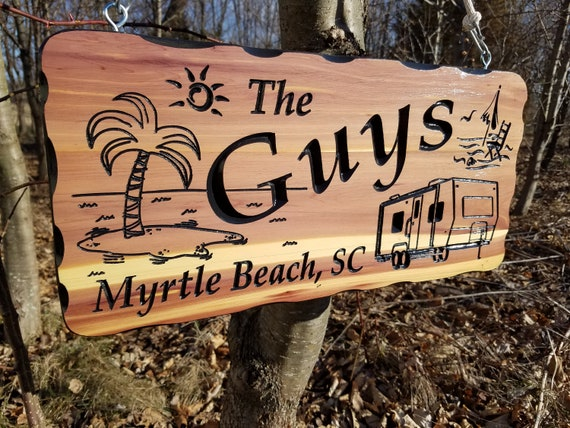 Family Camper Sign Personalized Carved Wooden Last Name Rustic Camping RV Sign Engraved Plaque Beach Themed Camper Image 19 x 9 Cedar 524