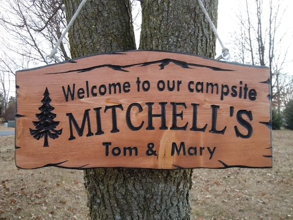 Last Name Family Campsite Sign Custom Made Wooden Welcome to our campsite Engraved Plaque Vacation Sign Retirement Gift 19 x 9 Pine 515