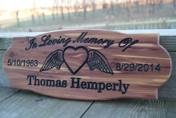 Memorial Engraved Plaque Personalized Carved Sign Angel Wing Heart Image In Loving Memory Of Departed Loved One Birth Death Dates Cedar 211