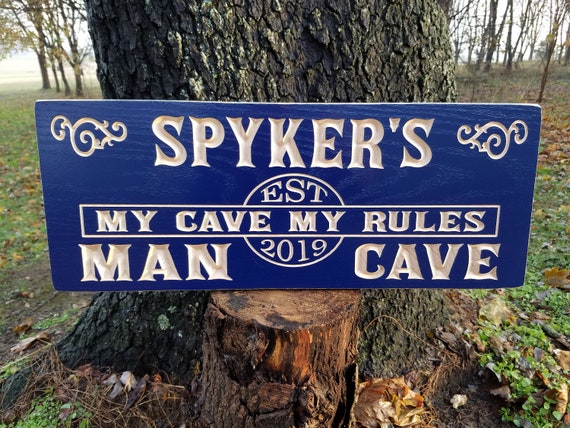 Personalized Man Cave Sign Wooden Carved Custom Wood Sign Fathers Day Birthday Retirement Groomsmen Gift Engraved Plaque Red Oak 639
