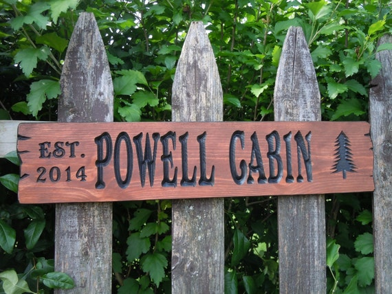 Cabin Sign Last Name Personalized Wooden Carved Rustic Hunting Camp Outdoor Live Edge Wood Graphic Image Housewarming Gift 23 x 5 Pine 324