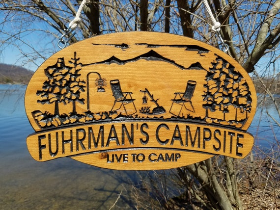 Custom Wood Signs Campsite Sign Camping Signs Wooden Live to Camp Camper Sign Wooden Signs Campfire Image Personalized Gift 18 x 11 Pine 573
