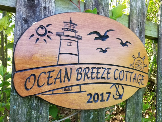 Beach Lake House Name Sign Personalized Custom Carved Lighthouse Anchor Ships Wheel Gulls Image Vacation Home Wooden Plaque 18 x 11 Pine 334