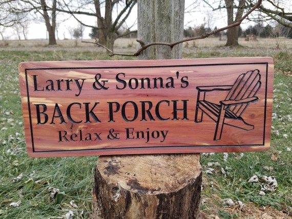Back Porch Sign Welcome Sign Personalized Back Porch Relax & Enjoy First Names Adirondack Chair Image Deck Sign Housewarming Gift Cedar 310