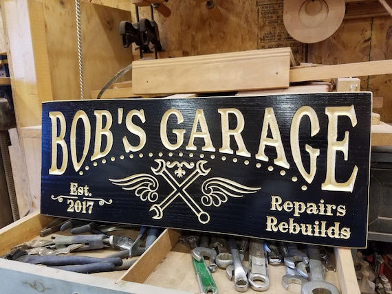 Personalized Garage Sign Custom Made Business Carved Wooden Sign Established Date Tool Image Workshop Sign Engraved Plaque Hardwood 750