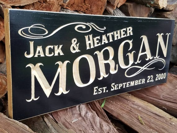Custom Wood Signs, Painted Personalized Carved, Wedding Gift, Anniversary, Family Last Name, Marriage Established Date Sign, Hardwood 44