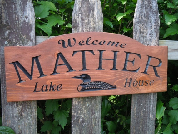 Outdoor Family Name Lake House Sign Personalized Custom Carved Duck Graghic Housewarming Gift Vacation Home Engraved Plaque Pine 359
