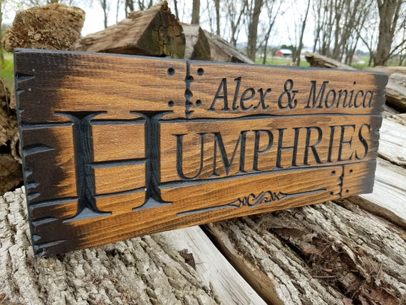 Rustic Custom Wood Signs Barn Wood wooden name sign Personalized Carved Wedding Gift Anniversary family name sign last name sign Pine 109