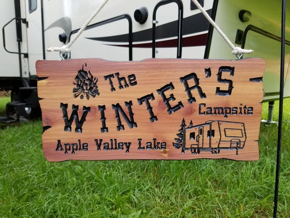 Personalized RV Signs Cedar Camping Signs Campsite Sign Camping Signs Personalized RV Sign Wooden Camper Signs Camper Image 19 x 9 Cedar 542