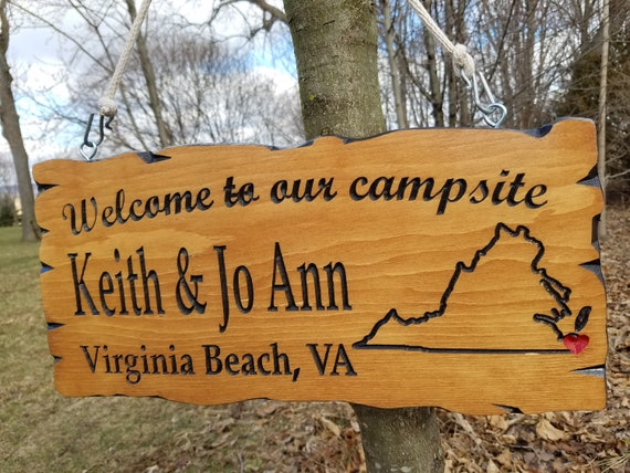RV Sign Camping Signs Camper Sign Personalized Camping Signs Welcome to Our Campsite Live Edge Wood Look RV Decor Wood Signs 19 x 9 Pine 546