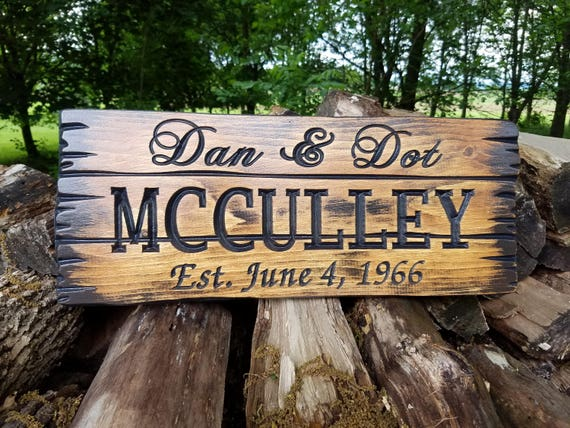 Rustic Custom Wood Signs Barn Wood Style Rustic Personalized Carved Wedding Gift Anniversary Housewarming Established Date Sign Pine 105