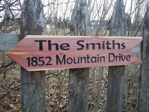 driveway sign-yard sign-address sign-cabin sign-last name sign-road sign-garden sign-carved wooden signs-home address sign 23 x 5 Cedar ST32