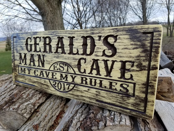 Man Cave-Rustic Distressed Sign-Groomsmen Gift-Man Gift-Best Man Gift-Little Man Cave-Man Cave Signs-Custom Wood Sign Knotty Pine 640