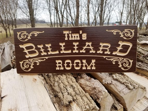 Personalized Billiard Game Room Saloon Sign Man Cave Sign Pool Table Sign Wooden Billiard Signs Speak Easy Game Room Signs Oak 742