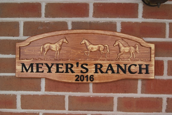 Personalized Ranch Sign Custom Wood Signs Wooden Signs Carved Custom Farm Rustic Standing Custom Outdoor House Signs 23 x 9 Pine 7103
