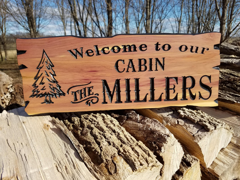 Custom outdoor name signs custom wooden cabin signs wood signs custom wooden house signs personalized wooden signs pine tree image cedar 339